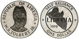 Liberia, Republic, 1 Dollar Copper-Nickel 1979 Self Reliance - Map, KM 32a, SCARCE, Proof - Liberia
