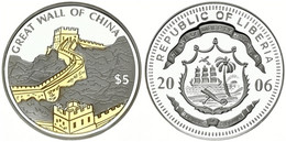 Liberia, Republic, 5 Dollars Silver Plated 2006 Gilt Great Wall Of China, KM NL, Proof - Liberia