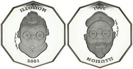 Liberia, Republic, 10 Dollars Silver 2001 Illusion Coin - 10-sided, KM 491, Proof - Liberia