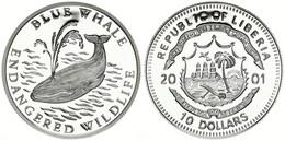 Liberia, Republic, 10 Dollars Silver 2001 Endagered Wildlife - Blue Whale, KM NL, Proof - Liberia