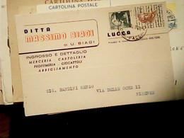 LUCCA DITTA BIAGI MERCERIA CARTOLERI PROFUMI VALORI GEMELLI 20 LIRE MICHELANGIOLESCA  + 20 UMBERTO GIORDANO 1968 HW3867 - Lucca