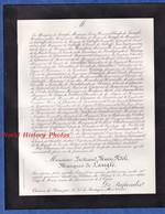 Document De 1889 - Château Du PLESSIS Par Tresboeuf ( Ille Et Vilaine ) - Bertrand Marie Fidèle Marquis De LANGLE - Todesanzeige