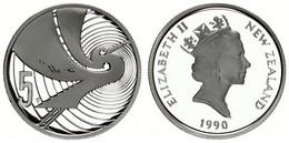 New Zealand, State, 5 Cents Silver 1990 Anniversary Celebrations - Kotoku Bird, KM 72a, Proof - Nuova Zelanda