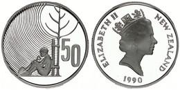 New Zealand, State, 50 Cents Silver 1990 Anniversary Celebrations - Sitting Child, KM 75a, Proof - Nuova Zelanda