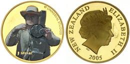 New Zealand, State, 1 Dollar Aluminum-Bronze 2005 King Kong - Multicolor Denham With Camera, KM 161, Prooflike - Nuova Zelanda