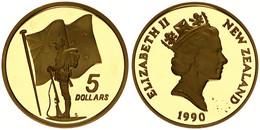 New Zealand, State, 5 Dollars Aluminum-Bronze 1990 ANZAC Memorial, KM 71, Proof - Nuova Zelanda