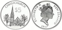 New Zealand, State, 5 Dollars Silver 1997 City Of Christchurch, KM 106a, Proof - Nuova Zelanda