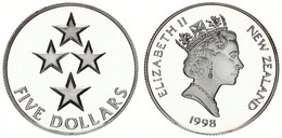 New Zealand, State, 5 Dollars Silver 1998 Pride In New Zealand - Four Stars, KM 109a, Proof - Nuova Zelanda