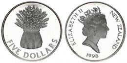 New Zealand, State, 5 Dollars Silver 1998 Pride In New Zealand - Wheat Sheaf, KM 111a, Proof - Nuova Zelanda