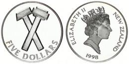New Zealand, State, 5 Dollars Silver 1998 Pride In New Zealand - Crossed Hammers, KM 112a, Proof - Nuova Zelanda