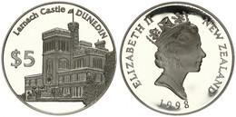 New Zealand, State, 5 Dollars Silver 1998 Dunedin - Larnach Castle, KM 113a, Proof - Nuova Zelanda