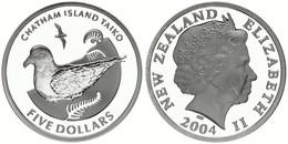 New Zealand, State, 5 Dollars Silver 2004 Chatham Island - Taiko Bird, KM 133a, Proof - Nuova Zelanda