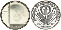 Northern Mariana Islands, Commonwealth, 5 Dollars Silver 2004 Hologram - Albert Einstein, KM X5, Proof - Isole Marianne Del Nord
