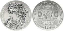 Rwanda, Republic, 50 Francs Silver 2008 Mountain Gorillas, KM NL, RARE, UNC - Rwanda