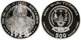 Rwanda, Republic, BIG SIZE 500 Francs Silver 2010 The Big Five - Rhinoceros, KM NL, Proof - Rwanda