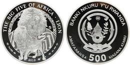 Rwanda, Republic, BIG SIZE 500 Francs Silver 2010 The Big Five - Lion, KM NL, Proof - Rwanda