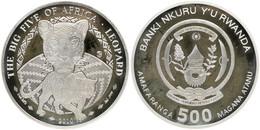 Rwanda, Republic, BIG SIZE 500 Francs Silver 2010 The Big Five - Leopard, KM NL, Proof - Rwanda