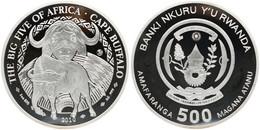 Rwanda, Republic, BIG SIZE 500 Francs Silver 2010 The Big Five - Cape Buffalo, KM NL, Proof - Rwanda
