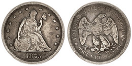 United States Of America, 20 Cents Silver 1975S Seated Liberty, KM 109, SCARCE, F/VF - Sin Clasificación