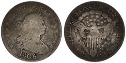 United States Of America, 25 Cents Silver 1806 Draped Bust Right, KM 36, SCARCE, Good - Sin Clasificación