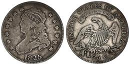 United States Of America, 25 Cents Silver 1825/4 Liberty Cap - Draped Bust Left, KM 44, SCARCE, Fine - Sin Clasificación