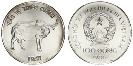 Vietnam, Socialist Republic, 100 Dong Silver 1986 Water Buffalo, KM 19, UNC - Vietnam