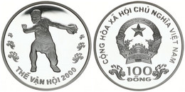 Vietnam, Socialist Republic, 100 Dong Silver 2000 Olympics - Discus Thrower, KM 79, Proof - Vietnam