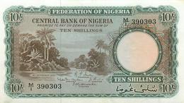 Nigeria, Republic, Banknote 10 Shillings 1958 River Scene & Palm Trees, P 3, XF - Uruguay