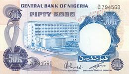 Nigeria, Republic, Banknote 50 Kobo ND (1973-1978) Bank Building At Left, P 14f, UNC - Uruguay