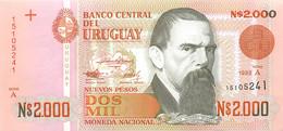 Uruguay, Republic, Banknote 2000 Nuevos Pesos 1989 J.M. Blanes At Right, P 68, UNC - Uruguay