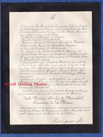 Document De 1885 - Château De COMBEAUMONT - Julie Victoire Azélie De MIRABEL Comtesse De LA MURE - Todesanzeige