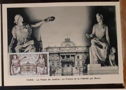 MONACO-CARTE MAXIMUM La France Et La Fidélité  Par Bosio- Le Palais De Justice - Maximumkarten (MC)
