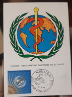 MONACO-CARTE MAXIMUM 1948-1968 Organisation Mondiale De La Santé -1968 - Maximumkarten (MC)