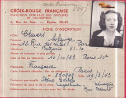 Guerre 1939-45 - CROIX-ROUGE FRANÇAISE - FICHE D'INSCRIPTION Solange CLAVERS 30/07/1945 Avec Photo - Red Cross