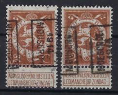 PELLENS Cijfer Nr. 109 Voorafgestempeld Nr. 2366 A + B  MOUSCRON 1914 MOESKROEN ; Staat Zie Scan ! - Typos 1912-14 (Lion)