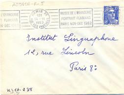 PARIS XX RUE DES PYRENEES OMec RBV 14-11-1952 MUSEE DE L'ORANGERIE / PORTRAIT FLAMAND / PARIS NOV-DEC 1952 - Annullamenti Meccanici (pubblicitari)