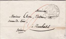 25 – PONTARLIER – 1830 - Pli De Pontarlier à Destination De Neuchâtel (Suisse) - 1801-1848: Precursori XIX
