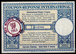 USA Lo16u Handstamp Blue Green 6,5x5mm 15 /13 CENTSInt. Reply Coupon Reponse Antwortschein IAS IRC O DES MOINES 1963 - Altri