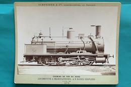 Locomotive Nord 4979- Photo Schneider Sur Carton - 1879 - France Train Marchandise Gare Vapeur Compagnie Chemin Fer - Trains