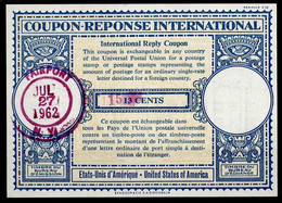 USA Lo16n 2x Handstamp Violet 13x5mm 15 And Bloc /13 CENTSInternational Reply Coupon Reponse Antwortschein IAS IRC O - Altri
