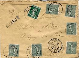 1908-enveloppe CHARGE  De SANSSERGUES / Cher  V D 2500 F Affr. Semeuse 0,95 F - 1921-1960: Modern Tijdperk