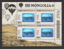 TT080 1993 MONGOLIA AVIATION HISTORY ZEPPELIN AIRSHIP STEREO 1KB MNH - Zeppelines