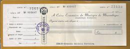 Cheque Da Caixa Económica Do Montepio De Moçambique, Lourenço Marques, Sobrecarga De Imposto De Selo $20. Prüfen - Cheques & Traverler's Cheques
