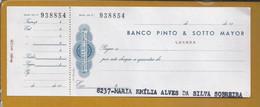 Raro Cheque Do Banco Pinto & Sotto Mayor, Luanda, Com Sobrecarga Do Selo De Cheque $20. Check Met Een Meerprijs $20 - Cheques & Traverler's Cheques