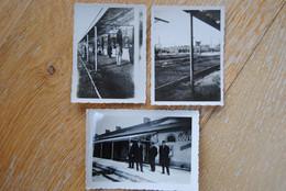 3870/Station GOUVY-Quais De La Gare (lot De 3 Photos Janvier 1934)Jules Benoit/Nicolas Closjans - Stations - Zonder Treinen