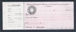 Banco Espirito Santo E Comercial De Lisboa Check With Embossed $10 Check Stamp. 1950/60. In Reliëf Gemaakte Controlestem - Cheques & Traverler's Cheques