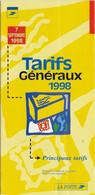 DEPLIANT TARIFS GENERAUX DE LA POSTE FRANCAISE A PARTIR DU 7 SEPTEMBRE 1998 7 FEUILLETS - Postal Rates