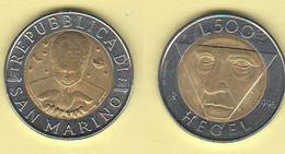 San Marino 500 Lire 1996 Hegel Bimetallico Bimètallique Sain Marin - Saint-Marin