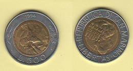 San Marino 500 Lire 1994 Bimetallico Bimètallique Sain Marin - Saint-Marin