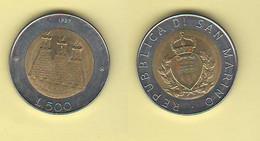 San Marino 500 Lire 1987 Bimetallico Bimètallique Sain Marin - Saint-Marin